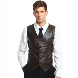 Wholesale Leather Animal Suits - Tops Men's suit vest Waistcoats New Arrivals smart Casual style business casual solid color sleeveless PU leather dress Vest men
