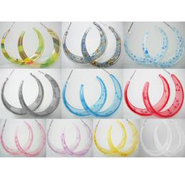 Wholesale Earring Blue Heart - Acrylic Hoop Earrings Mix 10 Styles Stripe Floral Heart Circle Lots Women Eardrop ( Green Blue Gray Red Pink Purple Yellow White )(JE013)