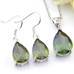 Wholesale vintage peridot - 5 Set Lot Holiday Popular Lady Jewelry Shiny Olive Green Water Drop Vintage Zircon Gems 925 Silver Chain Necklaces Pendant Earrings Jewelry
