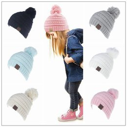 Wholesale Oversized Knitted Hat - 6 Colors Kids CC Pom Poms Beanie Trendy Knitted Chunky Skull Caps Winter Cable Slouchy Crochet Hats Outdoor Oversized Hats CCA8547 50pcs