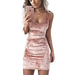 Wholesale Sexy Collared Vest - Autumn Velvet Vest Dress Sexy Women Square Collar Backless Dress Sleeveless Pink Bodycon Casual Dresses
