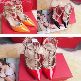 Wholesale Dance Shoes Sandals - 2018 Designer women high heels party fashion rivets girls sexy pointed shoes Dance shoes wedding shoes Double straps sandals xz274