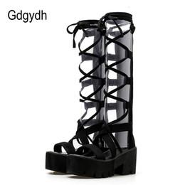Plataforma aberta de salto alto on-line-Gdgydh 2018 Moda Camurça Meados de Bezerro Mulheres Botas Lacing Sapatos de Plataforma de Salto Alto Sapatos Dedo Do Pé Aberto Feminino Botas de Verão Promoção