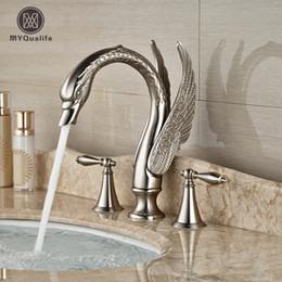 Wholesale Swan Faucets Sinks Bathroom - Luxury Nickel Brushed Swan Bathroom Sink Faucet Deck Mount Dual Handle Mixer Tap Widespread 3 Holes
