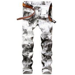 Wholesale Painted White Jeans - Newsosoo Fashion Men's Printed Jeans Pants Slim Fit Painted Denim Joggers For Male Club Wear Jean Trousers Size 28-38 White