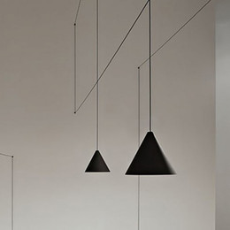 Wholesale E27 String - Antique DIY Art Modern Black Geometric Line Shape pendant lamp String Lights Lines for Restaurant Bar Bedroom Living Room
