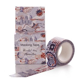 Wholesale Usa Papers - Wholesale- 2016 High quality USA Washi Tape DIY Masking Paper Tape Decorative Sticker Tape School Office Photo Frame Supply Papelaria 20mm