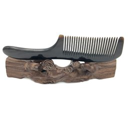 Круглые гребни для волос онлайн-L-116 Natural Buffalo Horn Comb round handle Hair Care Accessories