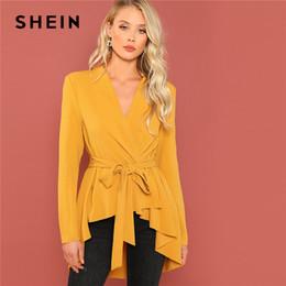 SHEIN Ginger Office Lady Élégant Asymétrique Ourlet V Cou Ceinture Solide  Manteau 2018 Automne Vêtements De Travail Mode Femmes Manteaux Survêtements  ... f8a06b80e0d2