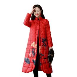 Tamanho do peito chinês on-line-Estilo chinês do vintage do sexo feminino longa seção solta grande tamanho para baixo jaqueta moda outono Impressão Único Breasted outerwear