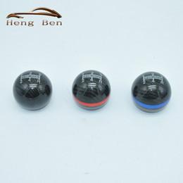 Wholesale black gear knobs - HB Carbon Fiber MUGEN Gear Shift Knob Red Blue Black Ring 5 Speed Manual Automatic Spherical Shift Knob