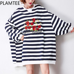 c883291f1f96 PLAMTEE Stripe Bat Long Sleeves Pregnancy Clothes Rose Embroidery Maternity  T-shirt Cotton Plus Size For Pregnant Women Shirt