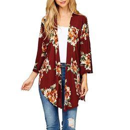 Pintura a óleo outono on-line-Kimono Cardigans Mulheres Impressão Floral Irregular Plus Size 3XL Pintura A Óleo Casual Solto Outono Encobrimento Tops Feminino Camisola DLD1196