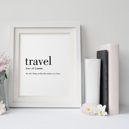 Wholesale Quote Prints Art - Travel Definition Quote Canvas Painting Minimalist Black White Word Poster Print Nordic Wall Art Picture Living Room Home Decor