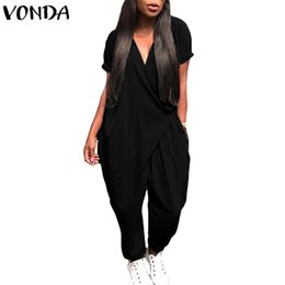 75b5c8aabf7 VONDA Rompers Womens Jumpsuit 2018 Summer Overalls Sexy V Neck Playsuit Casual  Loose Trousers Harem Pants Trousers Plus Size 5XL