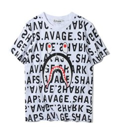 Wholesale Ape Clothing - Men women Clothing Wear Tide Brand Shark Mouth Printing ape Lovers Fund Round Neck Short Sleeve T shirt for Pity t-shirt fashion tshi