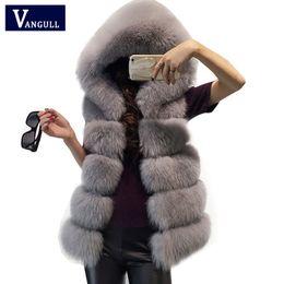 Chalecos para mujeres zorro online-Recién llegado de invierno cálido moda mujer importación abrigo chalecos de piel 2017 de alto grado abrigo de piel sintética Fox chaleco largo chaqueta de mujer