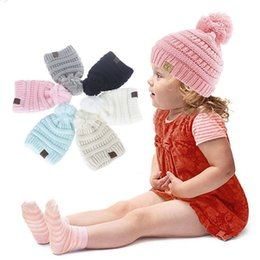 Wholesale Pom Blue - CC Hats Kids CC Pom Poms Beanie Trendy Knitted Chunky Skull Caps Winter Cable Knit Slouchy Crochet Outdoor Hats 6 Colors 20pcs OOA3825