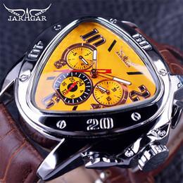 Relojes mecánicos automáticos jaragar online-Jaragar Luxury Man Sport Reloj mecánico Triangle Hollow Racing Geometric Spy Reloj de pulsera Brown Leather Strap 3 Dial Automatic Mens Relojes