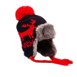 251e413420fc2 Bomber Trapper Hats Women Warm Plush Winter Hat Pompom Faux Fur Wool Knitted  Deer Snowflake Russian Ushanka Christmas Gift