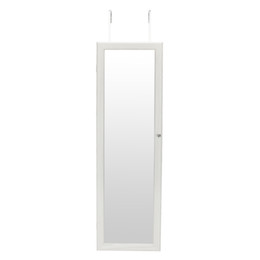 Stock In US LED Mirror Cabinet With LED Light White Retro PVC Wood Grain  Coating Whole Body Mirror Jewelry Storage Dressing Mirror Cabinet