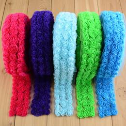 Wholesale Lace Fabric Trim Wholesale - 4.5cm-5cm width Dense Shabby Chiffon Rose Trim Chiffon Fabric 7.5yards pc (please choose 7.69yards per color)