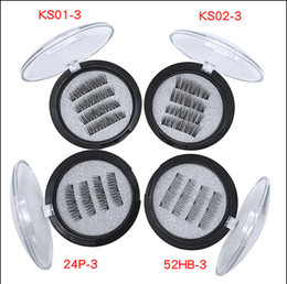 Wholesale magnetic sales - Hot sale three magnet 3D magnetic false eyelashes Natural hand-made 3 Magnetic False Eyelashes Eye lashes Beauty Makeup Accessories