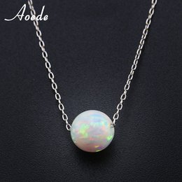 Wholesale Fire Ropes - whole saleWhite Fire Opal Necklace Pendants For Women 925 Sterling Silver Necklace Elegant Natural Stone Ball Fashion Jewelry Gift Collier