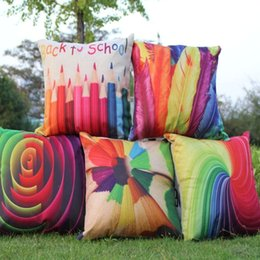 Wholesale Throw Pillows Feather Print - Cushion Cover Back to School Pillow Case Colorful Pencil Geometric Swirl Feather Sofa Bedroom Home Decorative Throw Pillow Cover
