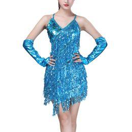 2019 traje de dança vestido de franja Trajes de Dança Latina Mulheres Salsa Dancewear Vestidos de Dança Traje Competição Vestidos Tango Adulto Fringe Ouro Lantejoula traje de dança vestido de franja barato