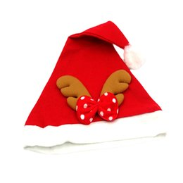 Wholesale Reindeer Antlers Hat - 1 Piece Adult Child Christmas Reindeer Hat Caps Cute Xmas Santa Claus Cap Xmas Gift Red Antlers Christmas Party Decor Costumes