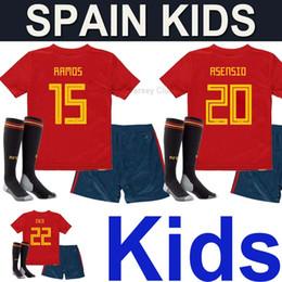 d57d4f5e8 Spain kids kits soccer jerseys uniform with socks 2018 national team world  cup camisetas boys RAMOS MORATA ASENSIO ISCO SILVA football shirt