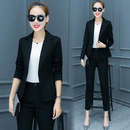 Disfraz de mujer de oficina online-Disfraces para mujeres Traje de pantalón 2018 Trajes de oficina con muescas Diseños Trajes de negocios para mujeres Chaqueta con pantalones Ropa formal para damas