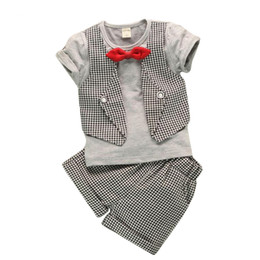 Wholesale Boy Set Fake - Baby Boys Clothes Fashion Fake Two Pieces Lattice Gentleman Serving Baby Clothing Summer Newborn Shirt Short-Sleeved Suit Pants 2pc  Sets