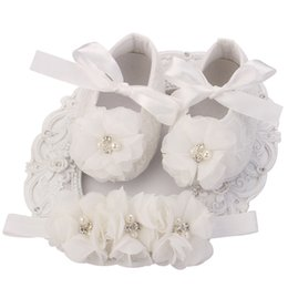 Wholesale Girls Ballerina Shoes - Ivory Newborn Booties Baby Girls Shoes Toddler;Infant Girls Rhinestones First Walker Baby Shoes Ballerina;Baby Baptism Set