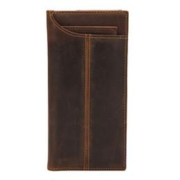 Billetera de cuero hecha a mano online-nuevo Vintage Crazy Horse Handmade Leather Men Wallet Multi-Functional Cowhide Monedero de cuero genuino Monedero para hombres