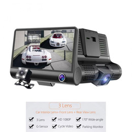 "Wholesale video zoom - 4.0"" Car dvr dual lens three camera with Radar Detector GPS 3 in 1 Loop video Rearview dashcam Camcorder Radar Speed Rearview Camera"