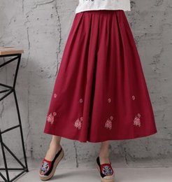 baumwoll-röcke elastische taille lässig Rabatt Stickerei beiläufige Röcke Frauen plus Größe elastische Taille Reich nationalen Trend chinesischen Stil Frühling Herbst Baumwolle Leinen ezd0801