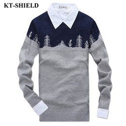Wholesale Patterned Knitwear - The lowest price Winter Fashion Men Sweater Printed Pattern Casual Knitwear Sweater Pull Homme Formal Slim fit Men Pullovers