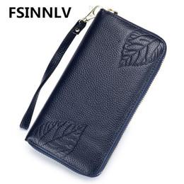 Wholesale Rfid Printed Cards - FSINNLV RFID Genuine Leather Wallet for Women Leaves Print Lady Long Wallets Women Purse Female Wallet Card Holder Clutch