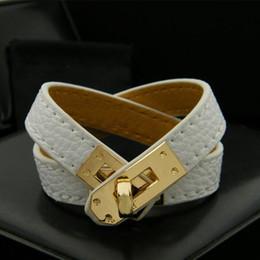 Multicamadas do vintage PU Couro H Pulseiras para As Mulheres de Luxo Cuff Bangles Moda Homens Fivela de Ouro Pulseira Acessórios Jóias de Fornecedores de coletores de vidro