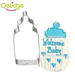 Wholesale baby cookie cutters - Wholesale- 1 pc Baby Cloth Feeding Bottle Shape Cookie Mold Stainless Steel Baby Series Cute Cookie Cutter Mousse Ring Bread Baking Molds