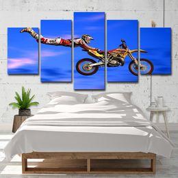 Gruppi di arte del gruppo online-Wall Art Canvas Paintings Home Decor Living Room 5 pezzi Motocross Limit Jumps Poster Group HD Prints Foto di motociclette