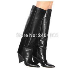 scarpe da donna sexy Sconti Shooegle Marca Autunno Inverno Scarpe Sexy Punta a punta Cono Tacco a spillo Slip On Tall Booties Nero Marrone Pianura Stivali alti al ginocchio Donna