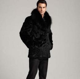 Abrigo largo térmico online-Invierno espesar pelo térmico chaqueta de cuero de piel de conejo hombres abrigo casual para hombre abrigos medio-largo prendas de vestir exteriores de moda negro