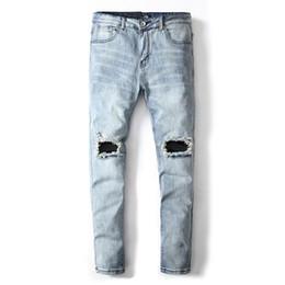 2019 helle jeans für männer Hellblaue Farbe Mode Männer Jeans Denim Stretch Hosen Punk Stil Zerstört Zerrissene Jeans Homme Marke Männer Skinny rabatt helle jeans für männer