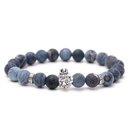 Мужская головная коронка онлайн-Volcanic Stone  Bracelet For Women Lion Crown Head Beaded Bracelet Men Energy Prayer Strand For Boys Dropshipping