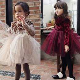 ball gown velvet dresses Promo Codes - Kid Girls Princess Velvet Dress Long Sleeve Ruffle Solid Lace Tulle Tutu Dresses Champagne Claret 2 Colors Spring Fall Winter Boutique 1-6Y