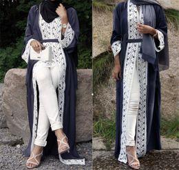 Wholesale new islamic - Fashion latest long sleeve lace soft crepe new style muslim maxi dress abaya islamic kaftan kimono Ramadan wear open abaya