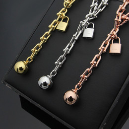 Wholesale gold ball chain necklace woman - Luxury brand golden Lock Ball Necklace HardWear Logo Chain American Women Punk Party Necklaces Jewelry